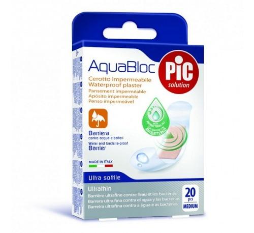 Pic aquabloc con bactericida - aposito adhesivo (19x72 mm 20 u)