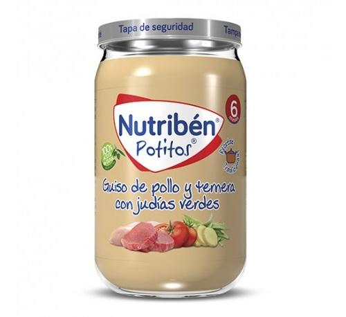 Nutriben recetas tradicionales - guiso de pollo y ternera con judias verdes (1 potito 235 g)