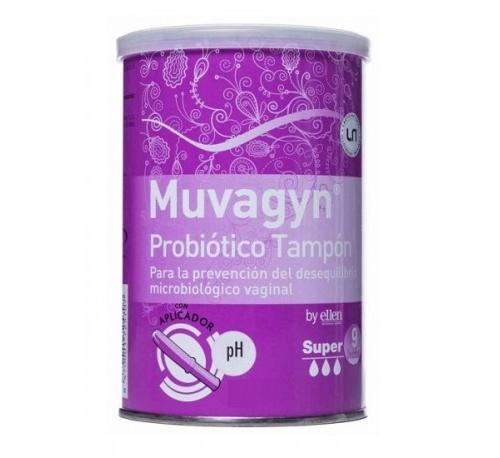 Muvagyn probiotico tampon vaginal (super c/ aplicador 9 tampones)