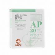 Indas aposito esteril tejido sin tejer 100% algodon (7,5 x 7,5 cm 20 u)