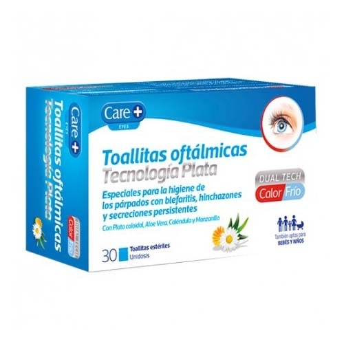 Care+ toallitas oftalmicas tecnologia plata (30 toallitas)