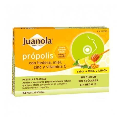 Juanola propolis hiedra pastillas miel limon (24 pastillas)